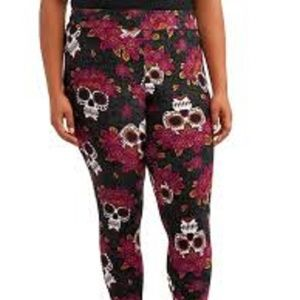 Sugar Skulls Black Plus Size Women Leggings